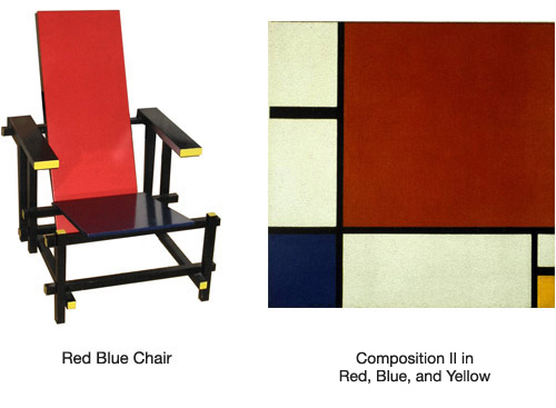 red blue chair, composition in white, blue and yellow