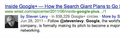 Google search result with Google+ picture next to it